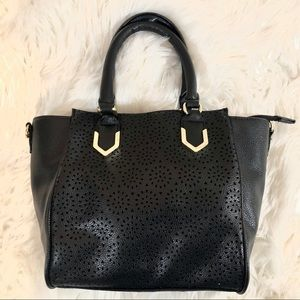 Black and Gold Small Faux Leather Handbag